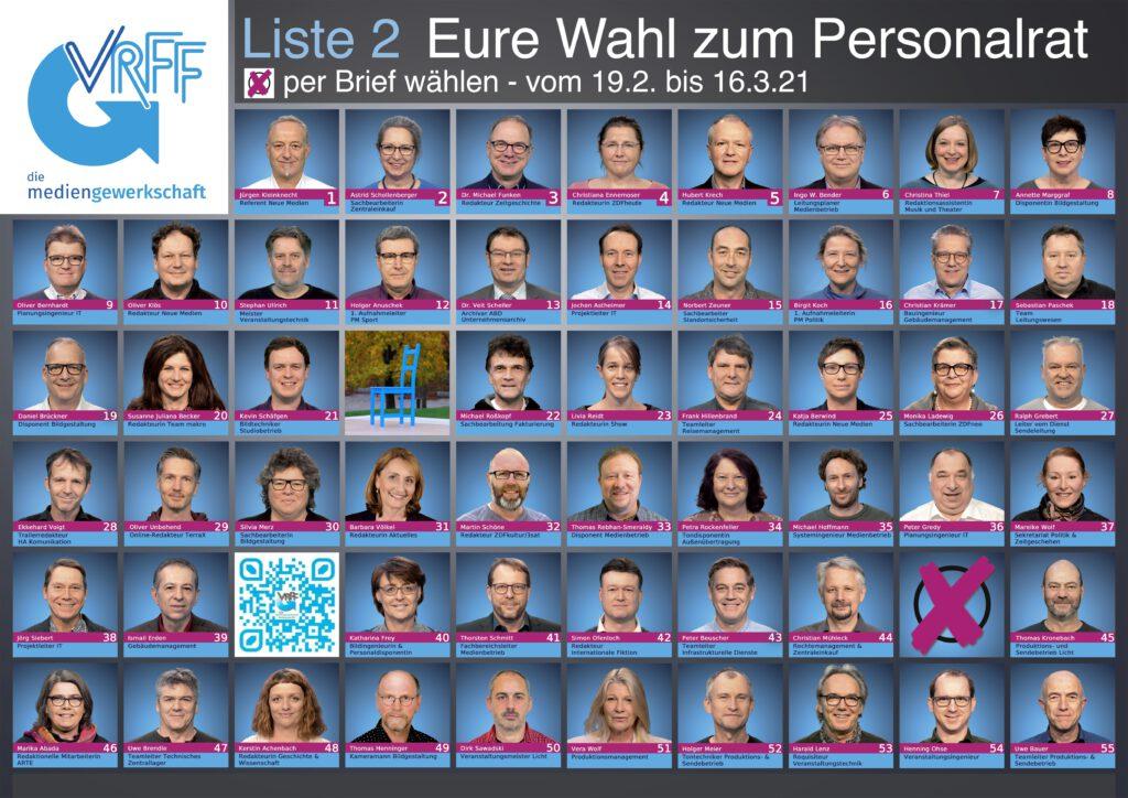 Plakat VRFF-Kandidat*innen Personalratswahl ZDF 2021