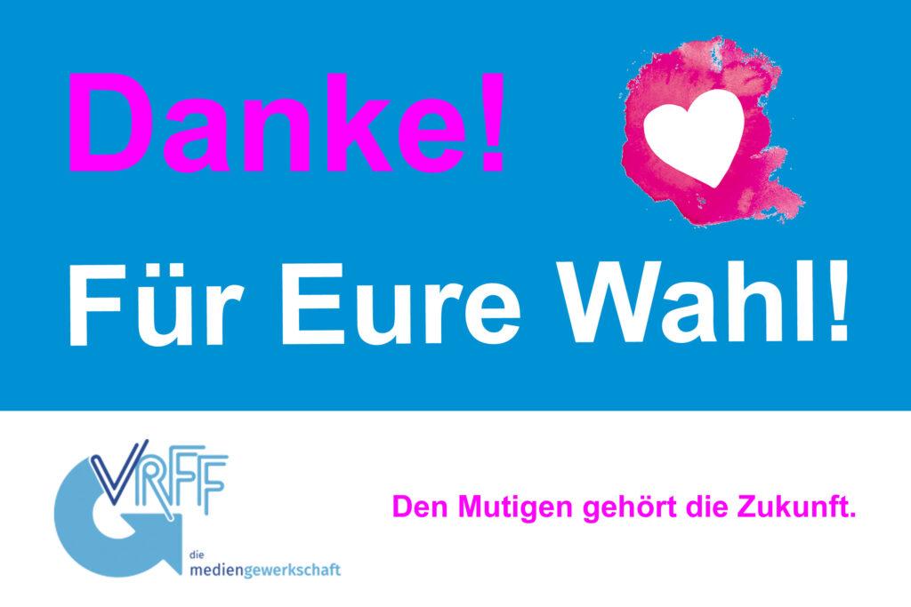 Danke-Plakat der VRFF im ZDF nach Auszählung Personalratswahl 2021