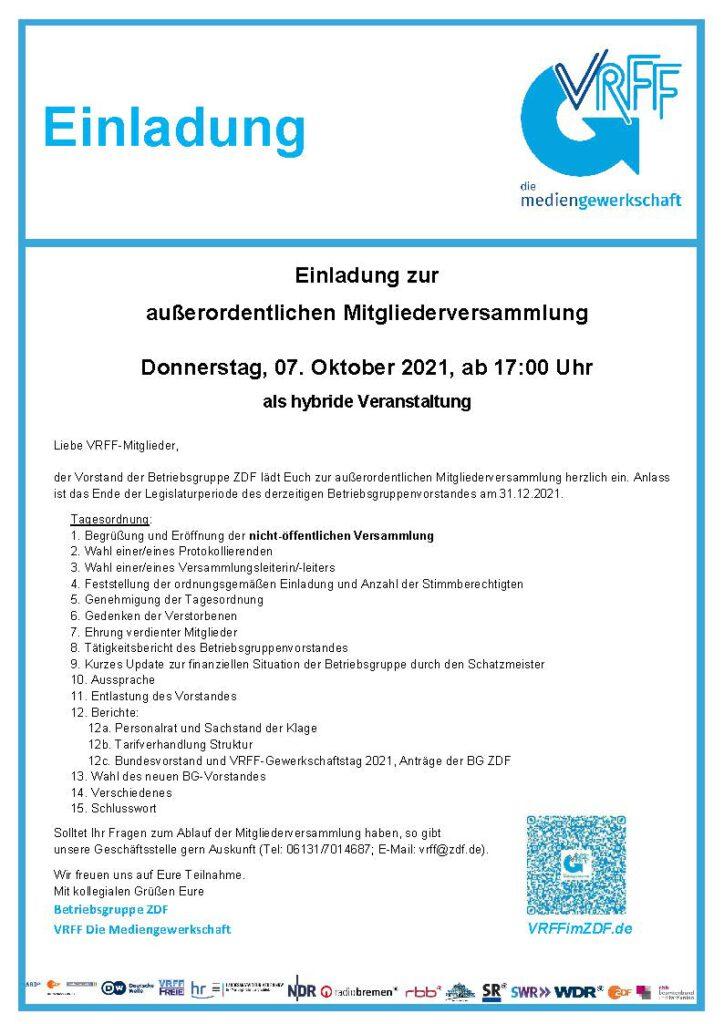 Einladung zur zweiten Mitgliederversammlung der VRFF im ZDF 2021